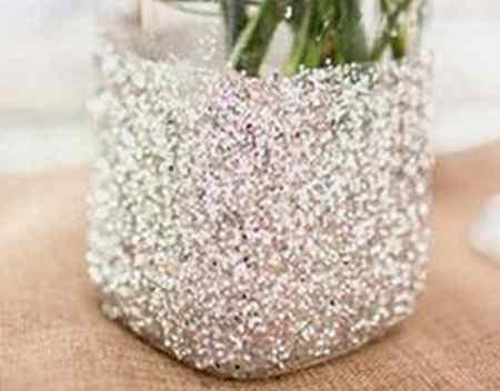 Блестящая ваза из банки своими руками