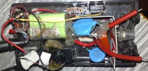 Электрошокер на основе диодов, транзистора и блока питания