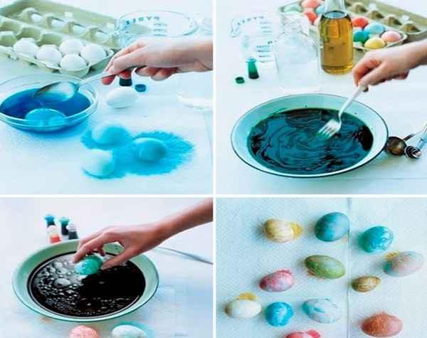Как сделать мраморные пасхальные яйца