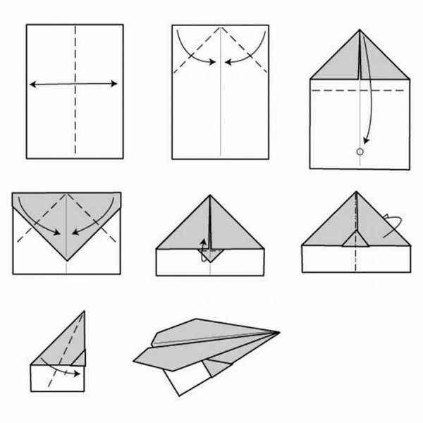 Схема бумажный самолетик